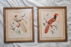 "Glenn F. Bastian Pair of Feather Collages ""Red Bird"" and ""Green Parrot"""