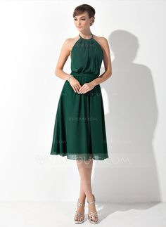 A-Line/Princess Scoop Neck Knee-Length Chiffon Bridesmaid Dress With Ruffle (007025846) - JJsHouse