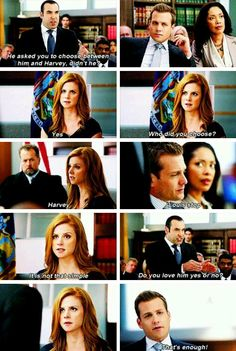 """Suits - Harvey, Louis and Donna """"Do you love him, yes or no?"""""""