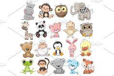 Set of Cute Animals by Reginast777 on @creativemarket