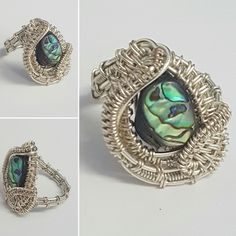 Abalone and silver plated woven wirework ring size N / US 7 focal statement ring by YouNiqueYou on Etsy