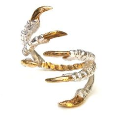Pigeon Grasp Ring with Gold Nails | Tessa Metcalfe | Wolf & Badger