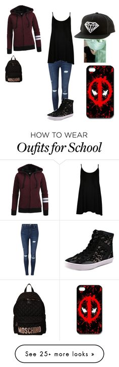 """""""Ready fo school"""" by johannaelyce on Polyvore featuring Miss Selfridge, WearAll, Rebecca Minkoff, Diamond Supply Co., Moschino, women's clothing, women, female, woman and misses"""