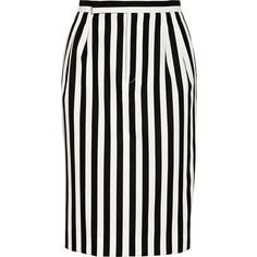Marc Jacobs Striped twill skirt (£252) ❤ liked on Polyvore featuring skirts, bottoms, saias, faldas, stripes, black, black striped skirt, marc jacobs skirt, below knee skirts and below the knee skirts