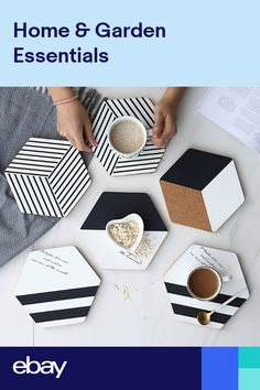 Black and White Hexagon Cork Placemats Set,Mordern Minimalist Large Coasters Plact Mats,Hot Pot Cup Holders for Dining Table Setting – Tableware Design 2020 Hot Pads, Clay Crafts, Diy And Crafts, Modern Crafts, Cork Wood, Modern Placemats, Tea Coaster, Diy Coasters, Homemade Home Decor