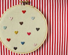 Hearts Embroidery Hoop  mini hearts on linen valentine's