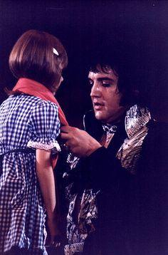 Elvis Presley with little blind girl...