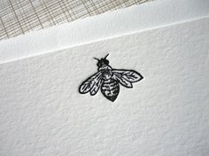 French Bee Letterpress Stationery Set of 6 Flat Notes by missive