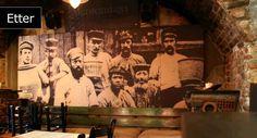 Lyddemping restaurant. Printet på plater vegg.