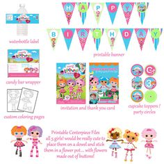 Lalaloopsy Birthday Package by digitalparties on Etsy, $20.00
