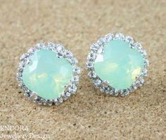 Mint Green Opal Swarovski crystal halo earrings | #EndoraJewellery