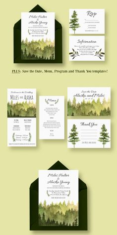 by Knotted Design in Templates  Invitations         In the Woods Wedding Suite includes: Wedding Invitation, RSVP, Information card, Save The Date, Wedding Program Template PSD #design Download: https://creativemarket.com/knotteddesign/384215-In-the-Woods-Wedding-Suite?u=ksioks