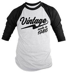 Shirts By Sarah Men's Vintage Made In 1986 30th Birthday Raglan Retro 3/4 Sleeve Shirts