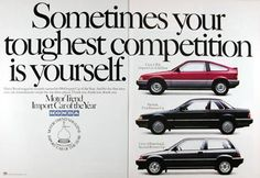 1984 Honda Import Car of the Year original vintage advertisement. Motor Trend magazine recently named its 1984 Import Car of the Year. And for the first time ever, one manufacturer swept the top three places: Honda Civic CRX, Import Car of the Year; Honda Prelude, First Runner Up; Honda Civic S Hatchback, Second Runner Up.