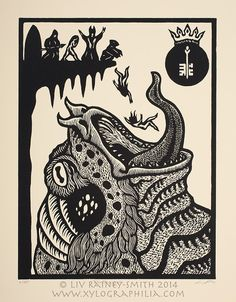 Tsathoggua Toad God Necronomicon woodcut print 11 x by Raineysmith, $80.00