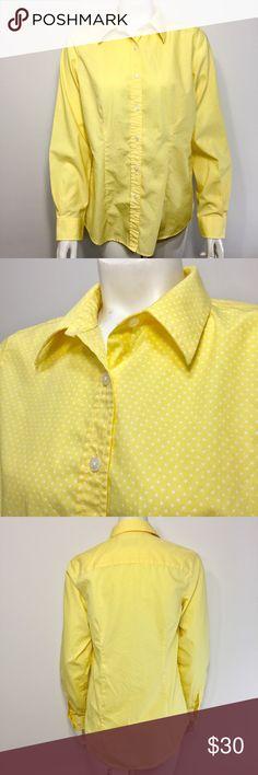 ddf56604 Orvis Button Front Polka Dot Yellow Shirt Size 6 Orvis Women's Wrinkle Free  Button Front Polka