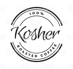 Kosher Coffee round labels on coffee bean textured background royalty-free kosher coffee round labels on coffee bean textured background stock illustration - download image now