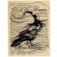 Raven & Background Wood Stamp