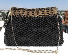 Evening black clutch Crochet Clutch Wristlet bag Knitted