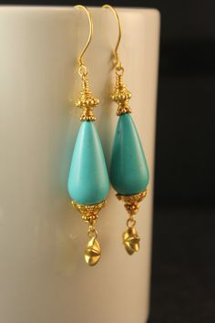 The Josephine Turquoise Drop and Bali Vermeil Antiquities Earrings