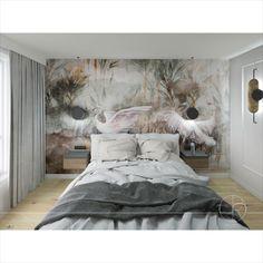 Przytulna i ciepła sypialnia z rewelacyjną tapetą w tle. Modern Bedroom, Bedroom Black, Black Lamps, Sleep, Architecture, Wallpaper, Furniture, Home Decor, Arquitetura