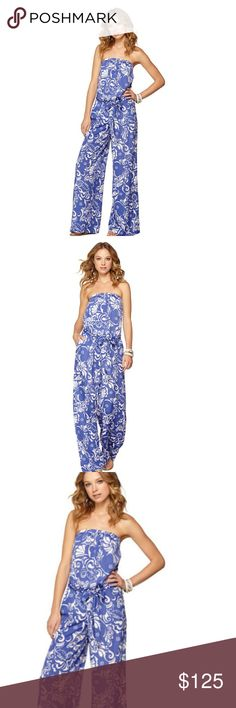 LILLY PULITZER FARRAH STRAPLESS JUMPSUIT TIDE POOL FARRAH STRAPLESS JUMPSUIT IN SPECTRUM BLUE TIDE POOLS. Revisit retro-chic with the Farrah strapless jumpsuit. This pull-on, elastic waist, blue and white jumpsuit can take you from a day of fun to a night of dancing. Wear this for a party on the beach. Jumpsuit looks are so fun and different! Pull On Maxi Strapless Jumpsuit With A Tie At The Waist. I Bought for vacation & never got to wear it! MY LOSS YOUR GAIN! SMOKE FREE. PET FREE. Lilly…