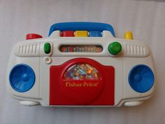 Vtg Fisher Price Cassette Player Radio Boombox Stereo Developmental Toddler Toy