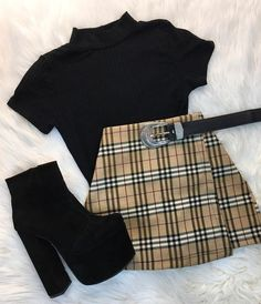 Girls Fashion Clothes, Fall Fashion Outfits, Edgy Outfits, Retro Outfits, Cute Casual Outfits, Outfits For Teens, Grunge Outfits, Skirt Outfits, Preteen Fashion