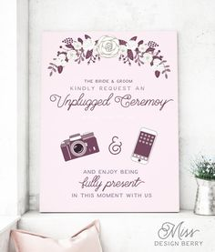 Unplugged Wedding Sign Purple and Pink by MissDesignBerryInc