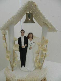 Vintage Elaborate Rare Chalk Wedding Cake Topper Pedestal Bell Gazebo 1930's | eBay