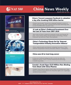 #ChinaNews Weekly 39 – #China's #Tencent surpasses #Facebook in valuation a day after breaking $500 billion barrier #technology #AI Chinese Market, Transportation Industry, Internet Marketing, Investing, China, Technology, Facebook, News, Day