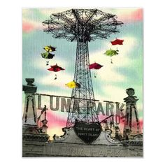 Coney Island - Luna Park Amusement park Vintage Mixed media urban - New York City - 8 x 10 Print sold by DarkIslandCity. Shop more products from DarkIslandCity on Storenvy, the home of independent small businesses all over the world. Coney Island Amusement Park, Amusement Park Rides, New York City, Brooklyn, Mixed Media Canvas, Up Girl, Large Prints, Vintage Images, Canvas Prints