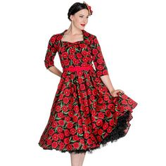 Hell Bunny 50's Poppy Floral Vintage Style Dress