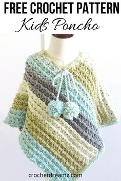 Free Child Crochet Poncho Pattern, Sea Breeze Poncho - Crochet Dreamz - - Make this free child crochet poncho pattern to complete a Mommy and Me set with my Sunset poncho crochet pattern for women. Crochet Baby Poncho, Pull Crochet, Crochet Cape, Crochet Poncho Patterns, Crochet Toddler, Crochet Girls, Crochet For Kids, Easy Crochet, Kids Poncho Pattern