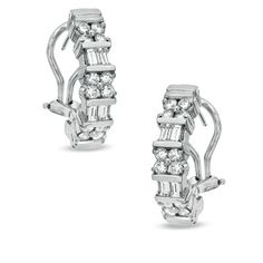 1-3/4 CT. T.W. Round and Baguette Diamond Hoop Earrings in Platinum