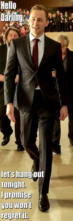 Tom Hiddleston. Hello Darling- Hang out