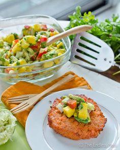 Gluten Free Thai Fish Cakes with Mango Avocado Salsa