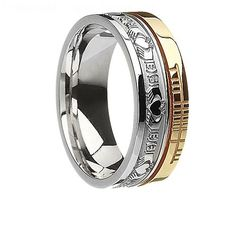 This beautiful faith ring is a unisex ring and features the pattern of the Claddagh and also an inscription in the ancient alphabet of Ogham, which dates back to around the 4th century. The Ogham inscription means