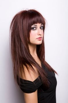 New Fashion Pretty Silky Natural Long Layered Straight Indian Remy Hair Wig with Full Fringe about 16 Inches Full Fringe Long Hair, Long Hair With Bangs, Long Layered Hair, Long Hair Cuts, Full Fringe Hairstyles, Hairstyles With Bangs, Medium Hair Styles, Natural Hair Styles, Short Hair Styles