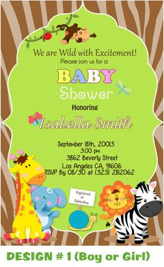 Custom Jungle Safari Baby Shower Card Invitations/boy by DesignRus, $8.99
