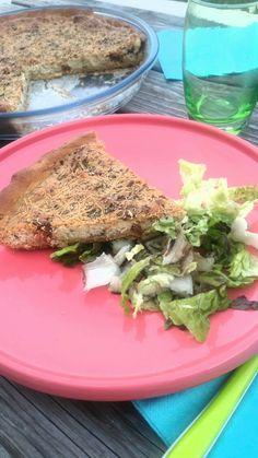 Quiche 100% vegane  (tofu soyeux, tofu aux herbes, tomates confites, capres, mozzarella vegane, herbes de Provence)