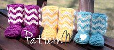 Crochet Baby Boots PDF pattern Chevron 13