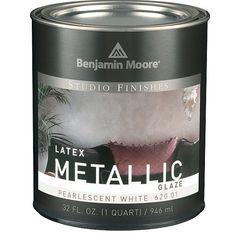 studio finishes metallic pearlescent white - to fix the bookcase debacle of Metallic Paint Colors, Glitter Paint For Walls, Silver Metallic Paint, Silver Walls, Metallic Luster, Paint Colors For Home, Rustoleum Metallic, Benjamin Moore Paint, Glaze Paint