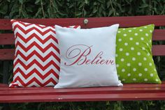 Believe Pillow Cover/ White Fabric / Merry by polkadotpears, $25.00