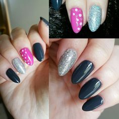 Asphalt CND Shellac with Hot Pop Pink & silver glitter accent nails #REALNAILS #naturalnails