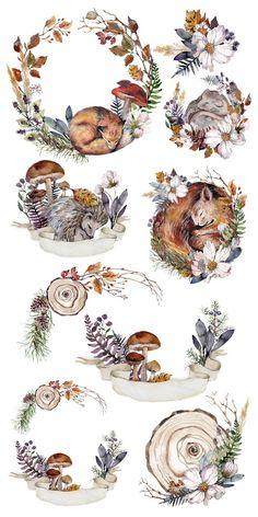 Autumn Illustration, Watercolor Illustration, Illustration Animals, Watercolour, Illustrations, Woodland Animals, Autumn Animals, Woodland Art, Sleeping Animals