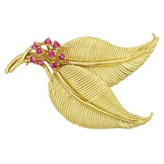 Estate Tiffany & Co. 18k Gold & Ruby Double Leaf Pin