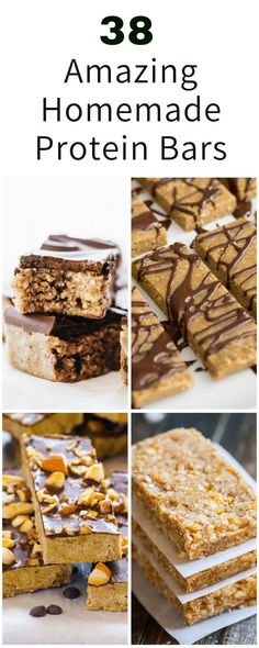 The 38 Best Homemade Protein Bars You Can Ever Make Protein is an important nutrient for health. So, why not make your own homemade protein bars? Healthy Protien Bars, Low Calorie Protein Bars, Natural Protein Bars, No Bake Protein Bars, Protein Bar Recipes, Protein Powder Recipes, Protein Foods, Protein Ball, Protein Muffins
