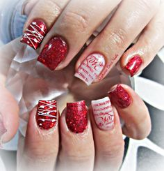 Red love acrylic nails