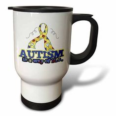 3dRose Autism is a Way of Life Awareness Ribbon Cause Design, Travel Mug, 14oz, Stainless Steel